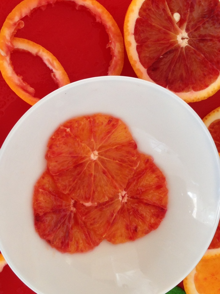 Adding a little interest with tart, seasonal blood oranges, picked up on my wanderings...