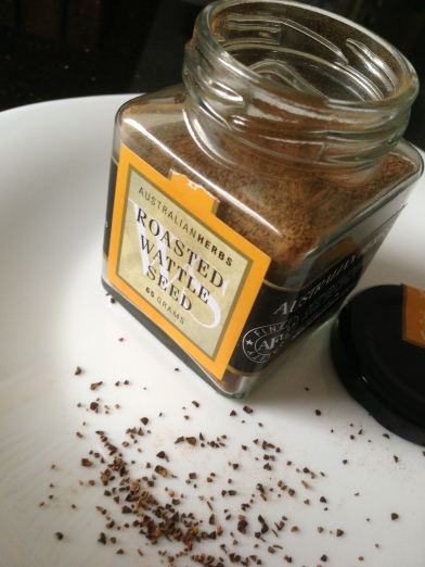 Australian Herbs, Roasted Wattle seed...my new best friend.  What a gorgeous, amazing bottle of magic!